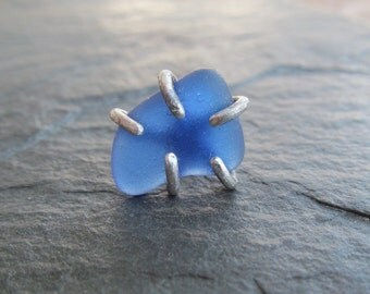 SINGLE Silver Stud Earring Blue Beach Glass Post Button Rough Sea Glass One Earring
