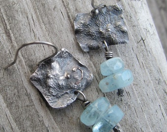 Rustic Silver Earrings Aquamarine Earrings Blue Gemstone Earrings Beach Inspired Jewelry Silver Blue Hanging Earring Silver Dangling Earring