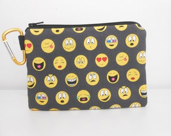 Emoji Coin Purse, Carabiner Clip Change Purse, Black and Yellow Emoticon Padded Zipper Pouch