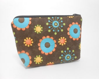 Small Cosmetic Pouch Brown and Aqua Floral