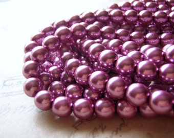 Fuchsia Pearl Beads Round Crystal 8 mm 20 Pearls