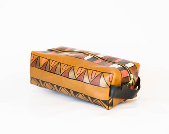 Dopp Kit Version I- VOZ x YWH Collabo/ Hand Painted Leather Toiletry Bag/ Cognac Leather Travel Case/ Toiletry Bag/ Southwestern Inspired