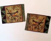 Set of TWO Folk Art Robin Quilted Mug Rugs  Handmade by GloryQuilts