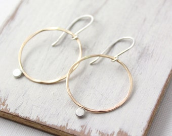 Gold and Silver Dot Hoop Earrings