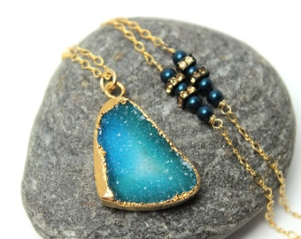 Druzy Aqua Pool Necklace Natural Quartz Gold Leafed Iridescent Petrol Blue Swarovski Pearls Crystal Sterling Drusy Agate Nature Gemstone
