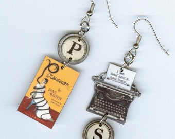 Book EARRINGS - Jane Austen PERSUASION literary quote - Typewriter jewelry - reader's book lover librarian gift fan - Designs by Annette