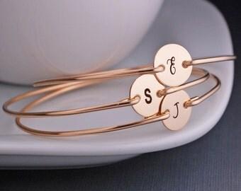 Personalized Bracelets, Simple Gold Bangle Bracelet, Initial Bracelet, Gift for Friends