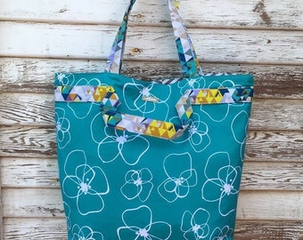 Large Tote-Turquoise-Large Purse-Joslyn Bag-Floral-Lotta Jansdotter