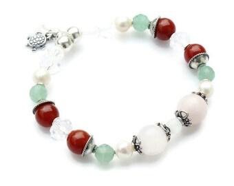 Sweet Pea Fertility bracelet- STRETCH-STERLING Silver- for pregnancy and childbirth-Carnelian, Rose Quartz, Moonstone,Green Aventurine