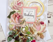 Handmade Birthday Greeting Card, Blank Card, Floral Birthday Card, Handmade Card, Floral Card, Anna Griffin Card, Birthday Card for Her