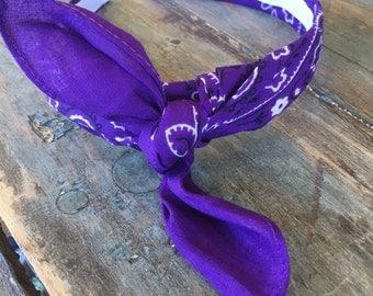 Bandana Knot Tie Headband (Purple)