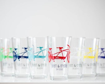 Personalized Tandem Bike Pint Glasses, screen printed glassware, Set of 8
