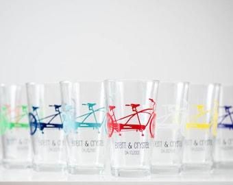 Personalized Tandem Bike Pint Glasses, screen printed glassware, Set of 8