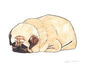 Pug Drawing, Pug Watercolor, Pug Art, Pug Items, Pug Print, Pug Love, Pug Life, Pug Gift, Pug Lover, Pug Wall Art, Pug Decor, Pug Loaf