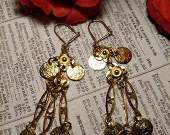 SALE TODAY Long Vintage Chandelier Gold Tone Coin Motif Earrings Boho Tribal