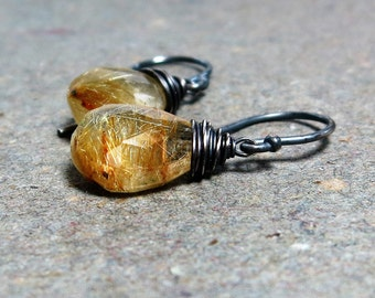 Gold Rutilated Quartz Earrings Oxidized Earrings Wire Wrapped Earrings Sterling Silver Earrings Gift for Her