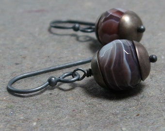 Botswana Agate Earrings Brown Gemstone Earrings Oxidized Sterling Silver Earrings