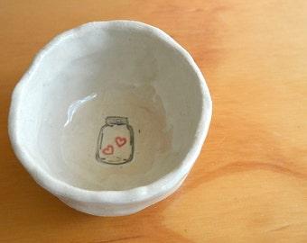 Mini-Bowl with Mason Jar of Hearts