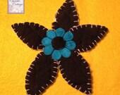Daisy Applique, Handmade 002, Turquoise, Black