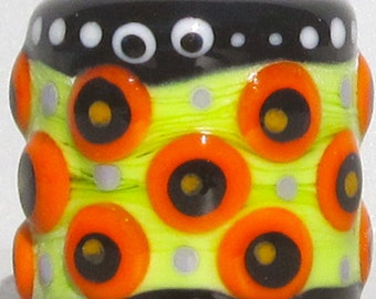 Halloween Drum Barrel (Green)-Handmade Lampwork Bead