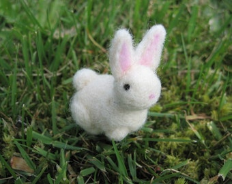 Needle Felted Rabbit Wool Figure mid size