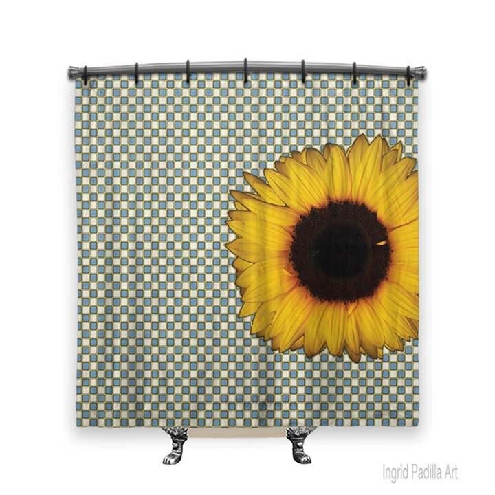 Big sunflower shower curtain shower curtain blue shower curtain