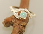 Bud Branch Leaf Ring  with Opal, alternative engagement ring, twig ring, branch ring, opal ring, engagement ring