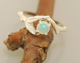 Twin leaf Opal branch ring , twig ring, branch ring, opal ring, engagement ring