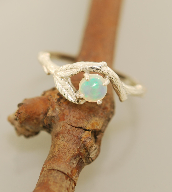 Twin leaf Opal branch ring twig ring branch ring opal