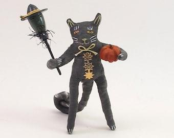 Spun Cotton Vintage Style Halloween Standing Black Cat Figure