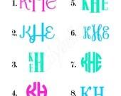 Monogram Decals - Personalized Decals - Personalized Vinyl Decals - Monogram Car Decals - Vinyl Decals - IPhone Decals - DIY Vinyl Decals