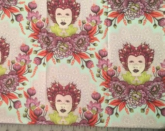 Tula Pink Elizabeth Selfie in Pink Cotton Fabric by the yard