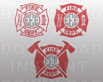Firefighter SVG File - Fireman Emblem SVG File - Commercial & Personal Use- vector svg file for Cricut,SVG File for Silhouette,vinyl cutting