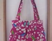 Echino Birds Raspberry Linen Pleated Handbag Purse Ipad Netbook Tote