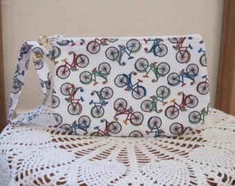 Retro Cruiser Bikes Clutch Wristlet Zipper Gadget Pouch Smart Phone Bag