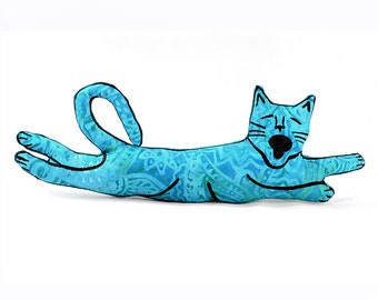 flying cat shaped small pillow, kitty pillow, animal pillow, cat pillow, turquoise batik fabric