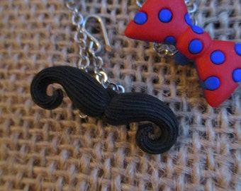 Fashion Doll Bow Tie and Mustasch Necklace