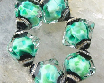 Turquoise Rain - Set of 6 Crystal Bicone Beads - SRA Glass Lampwork