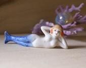 Vintage Blue Mermaid, Aquarium Ornament Decor, Made in Japan