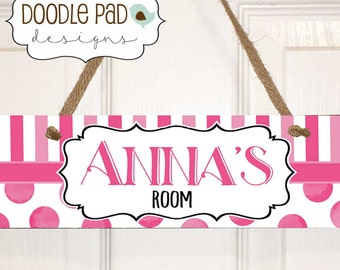 Girls Room Sign, Personalized Door Sign, Pink Dots and Stripes