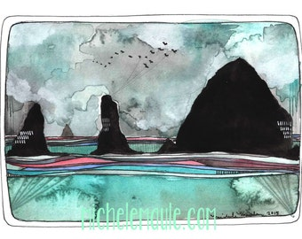 Art - Cannon Beach Print - Cannon Beach Art Print -Print of Watercolor Painting - Beach Watercolor Art - Oregon Coast Art - Cannon Beach