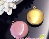 CH-EX-08146DP -   Nickel-free, Color epoxy,  Round locket (S), dusty pink, 2 pcs
