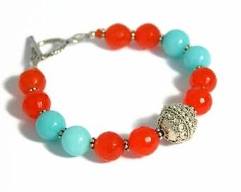 Orange, Blue Bracelet, Beaded Jade Bracelet, Bali Silver, Tangerine Orange, Baby Blue Jewelry