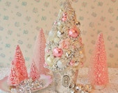 BIG CHUNKY Moondust Bottle Brush Tree - Pink and Silver Mercury Glass, BLING
