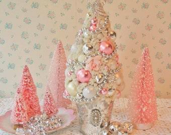 BIG CHUNKY Moondust Bottle Brush Tree - Pink and Silver Mercury Glass, BLING