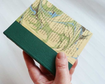 Handbound Journal with a cover featuring marbling over text