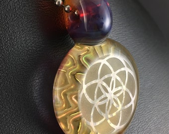 Boro Glass Pendant Bead Fume Gold 3D Impression Seed of Life Geometric  --Dan Rushin (5)