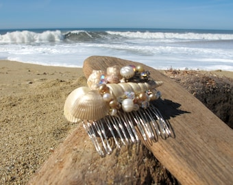 Beach Wedding No.10 - Shimmering Gold Seashell, Pearl and Vintage Rhinestone Bridal Assemblage Hair Comb, Coastal Wedding