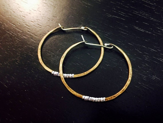 Small Forged Brass Hoops with Silver Heishi
