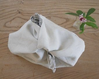 linen + geometry- lined bento bag 4